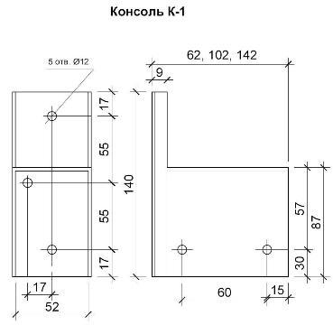 Геометрические размеры и общий вид Консоли К-1.