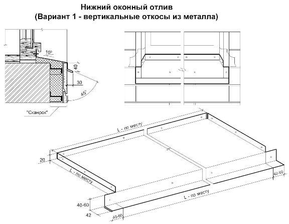 Нижний оконный отлив (вертикальные откосы из металла).