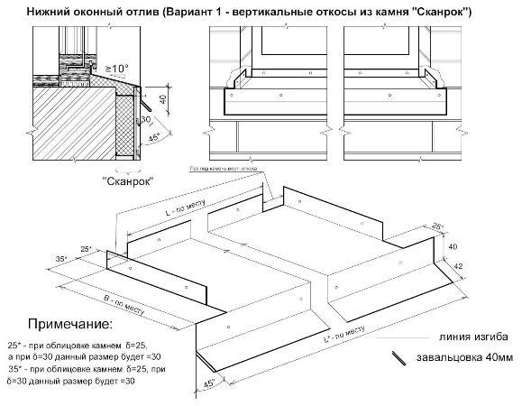 """Нижний оконный отлив (вертикальные откосы из камня """"Сканрок"""")."""